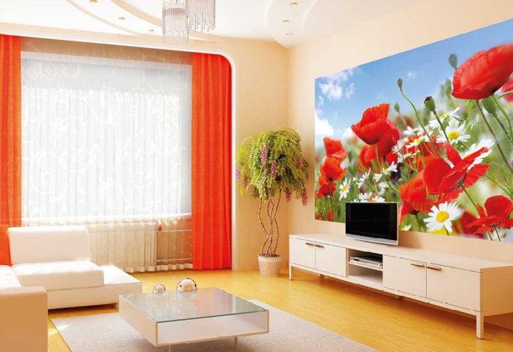 Красные фотообои в интерьере гостиной