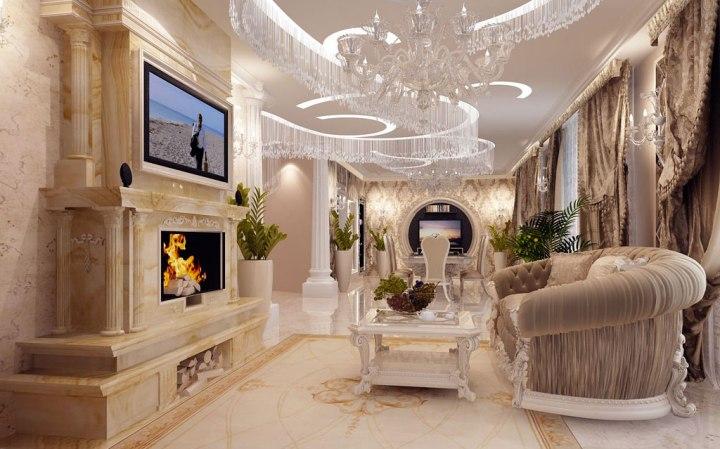 Проект роскошной гостиной в стиле люкс