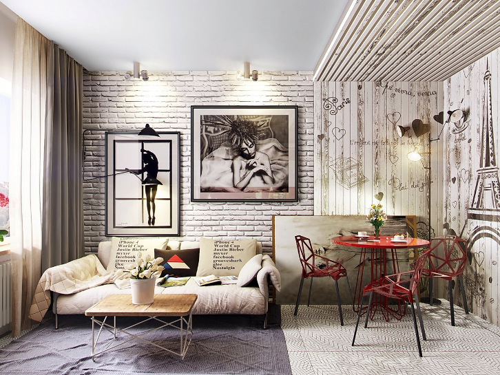 Красивая гостиная с кирпичной стеной
