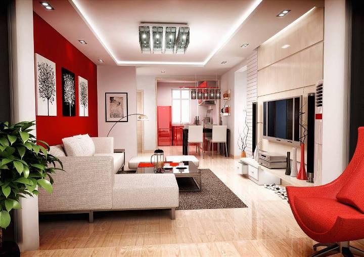 Красный цвет в интерьере гостиной