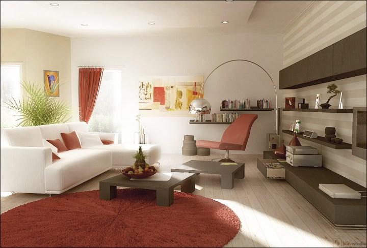 Красный ковер в гостиной