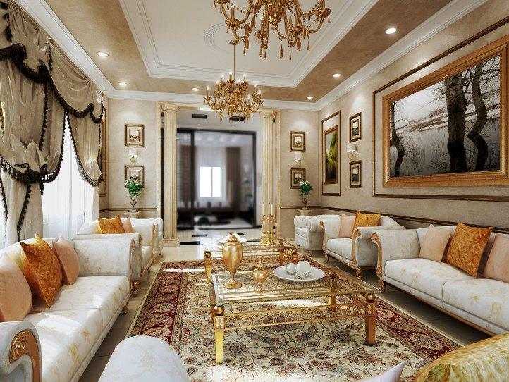 Симметрия гостиной в дворцовом стиле