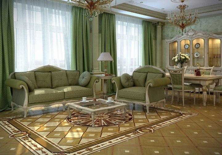 Интерьер зеленой гостиной с художественным паркетом