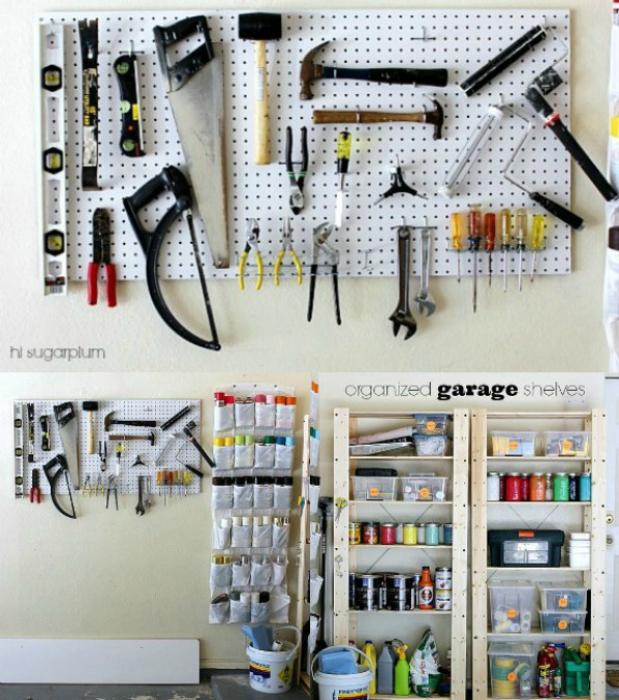 перфорированная белая панель для организации хранения инструментов в гараже