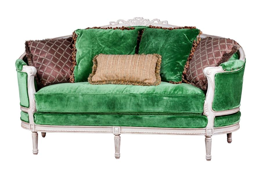 изумрудный диван в французском стиле