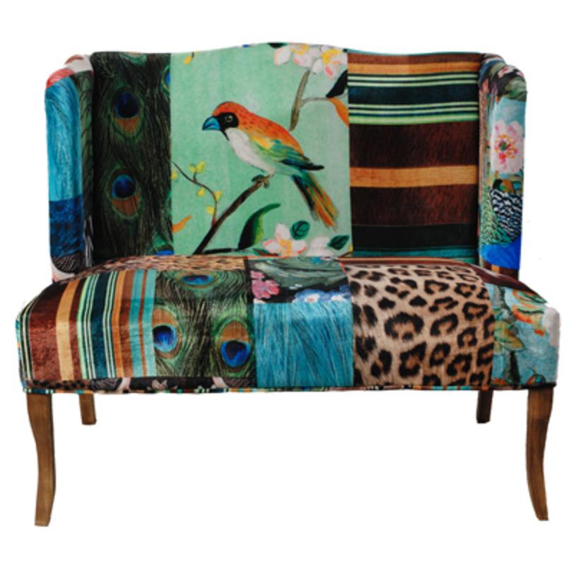 диван с птичками и перьями