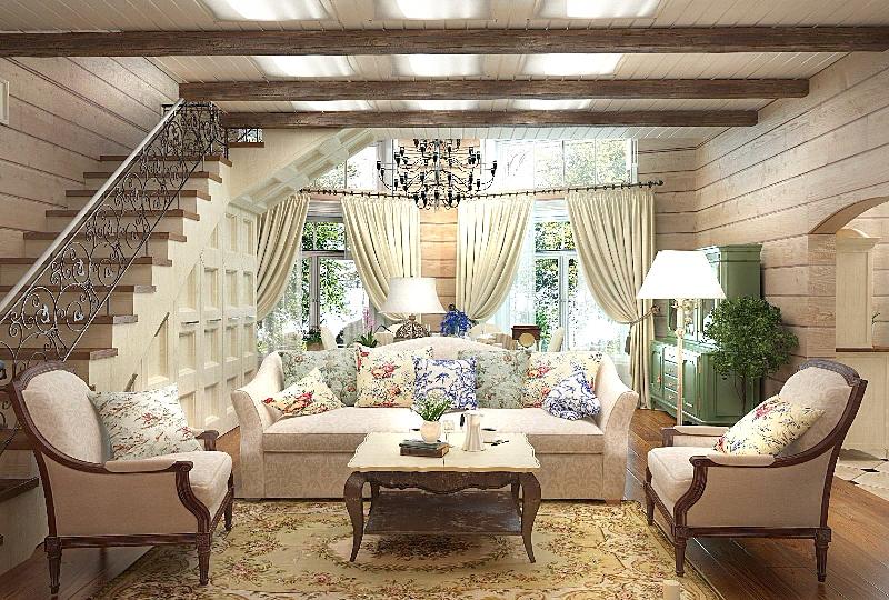 Интерьер деревянного дома в стиле прованс: фото