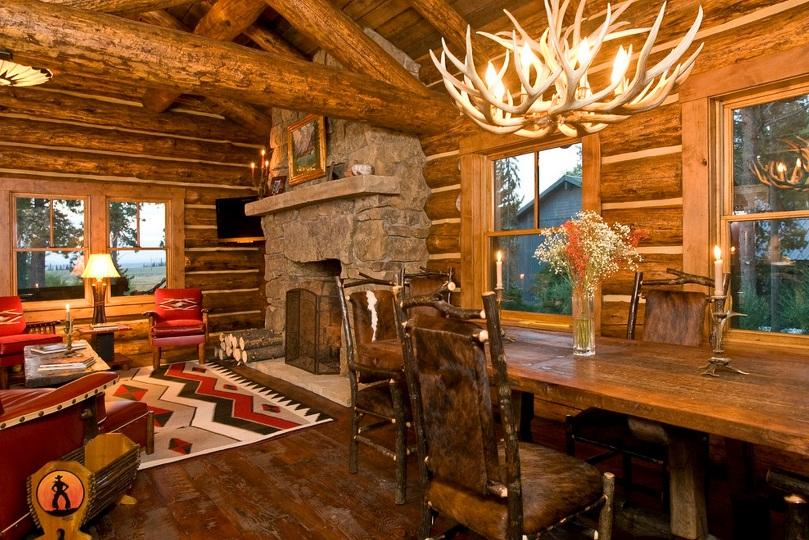 Интерьер деревянного дома в стиле шале