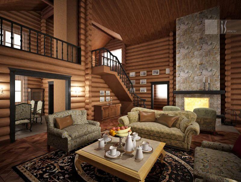 интерьеры домов деревянных фото