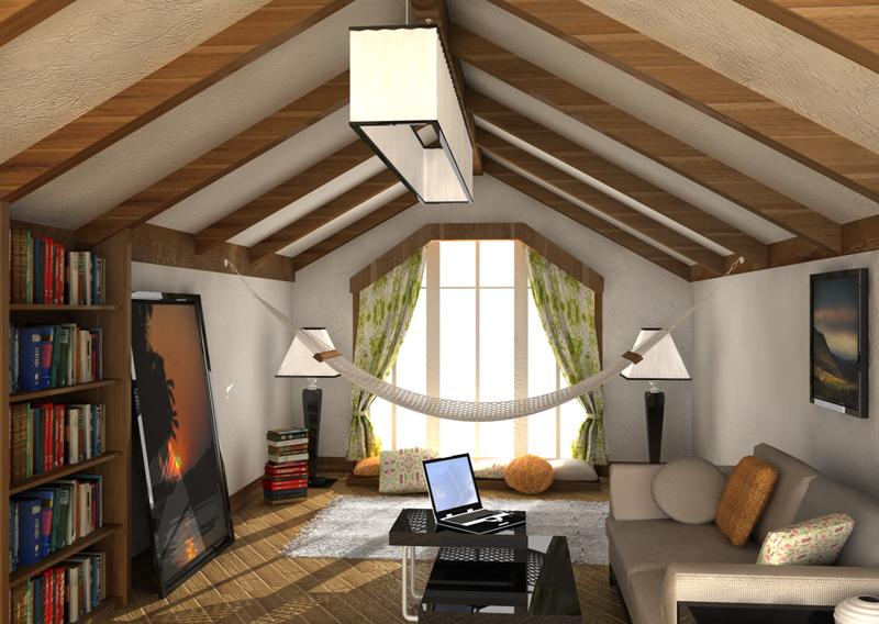 Интерьер мансарды в деревянном доме фото