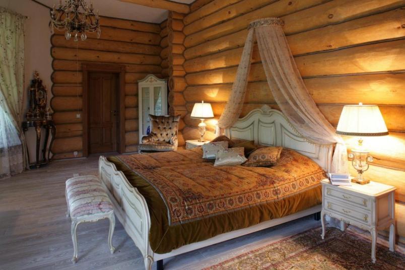 Интерьер спальни в деревянном доме: фото