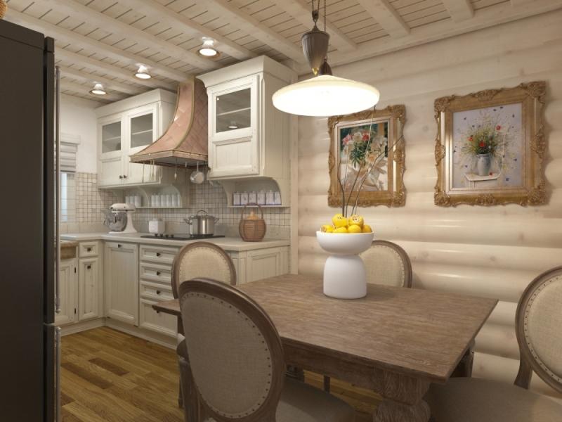 Светлая кухня в доме из дерева