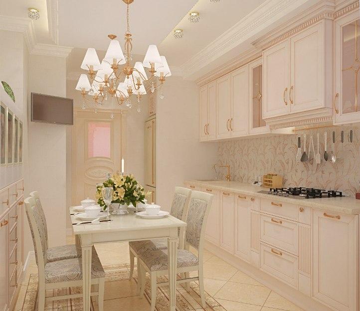 Интерьер кухни с бежевой мебелью