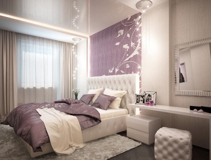 Интерьер спальни фиолетовая белая 78