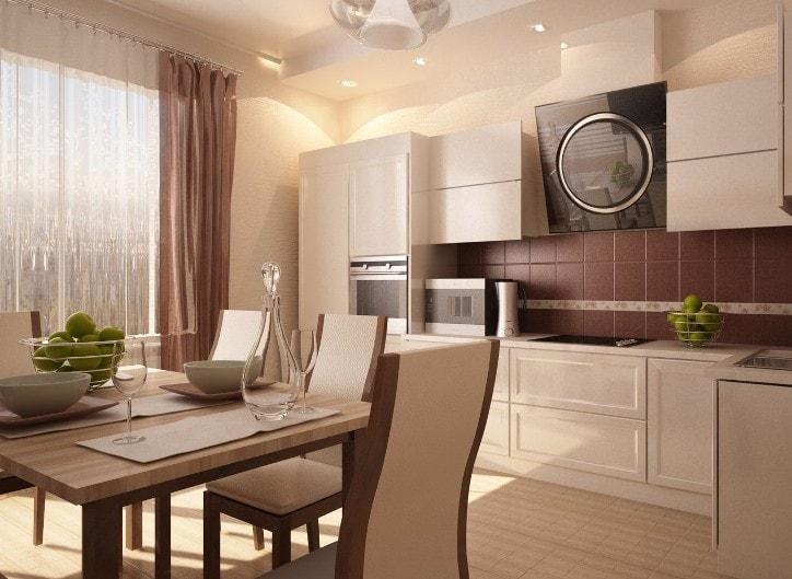 Бежевый кухонный гарнитур в интерьере