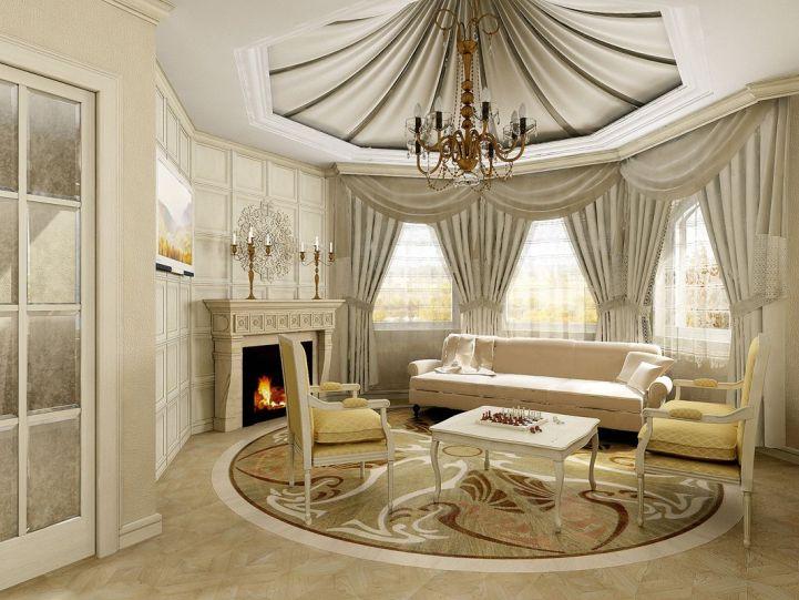 Классический интерьер гостиной в бежевом цвете