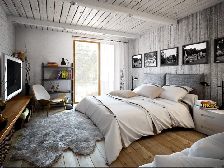 Деревянная спальня в стиле лофт