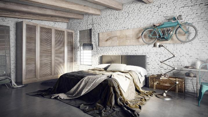 Кирпичная кладка в спальне в стиле лофт