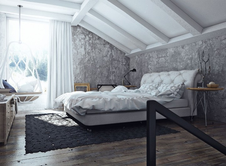 Штукатурка в интерьере спальни (лофт)