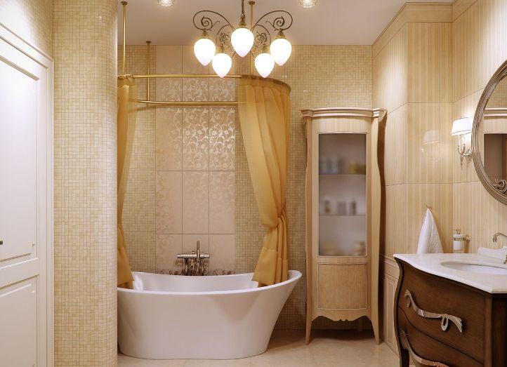 Классическая ванная комната в бежевых тонах