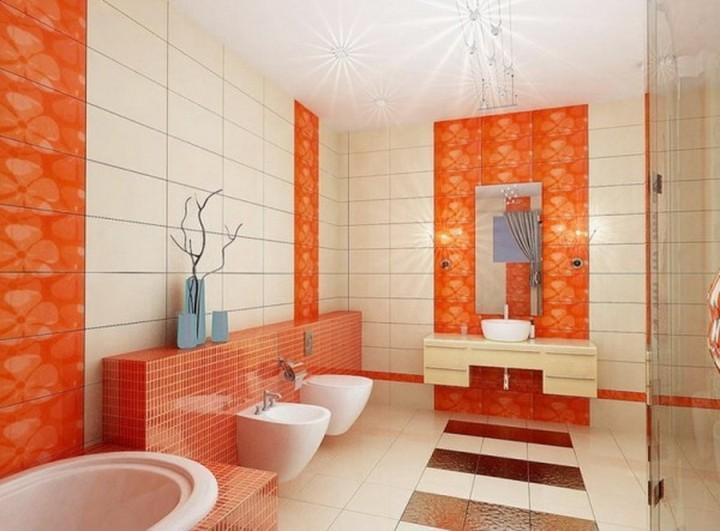 Оранжево-белая ванная