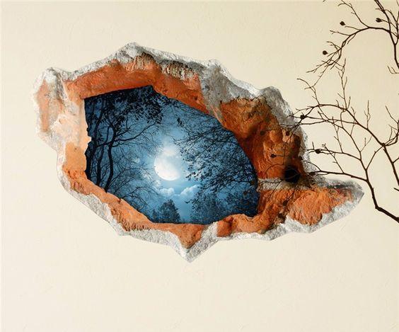 Наклейка: дыра в стене на ночное небо