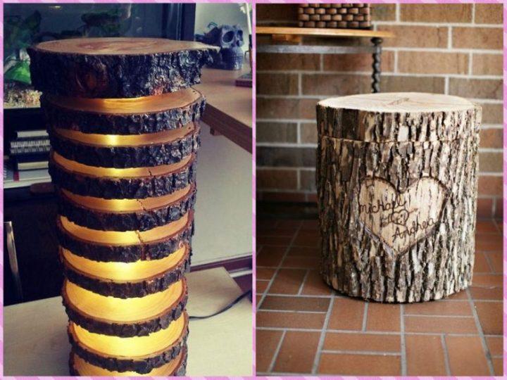 Светильник из бревнышка и шкатулка с надписью из пня