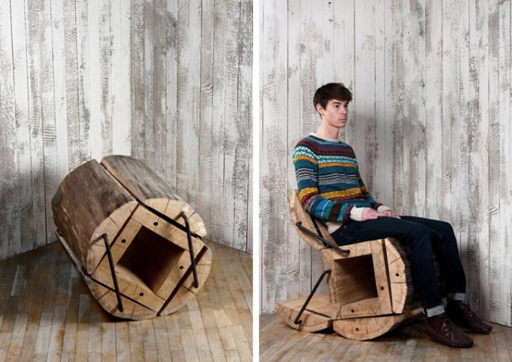 Необычное кресло-транформер из пенька