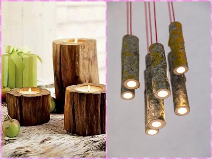 Деревянные подсвечники и светильники из дерева
