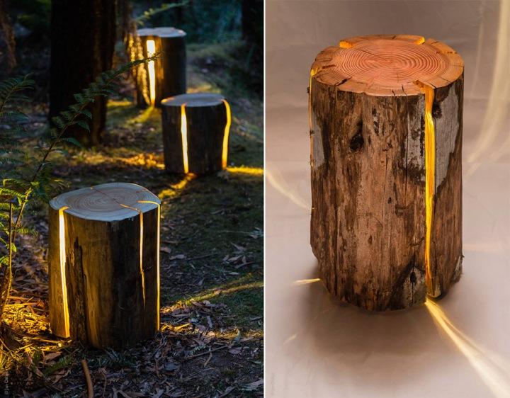 Декоративный светильник из дерева