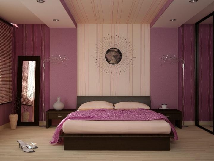 Розово-бежевая спальня