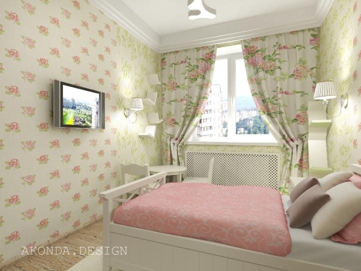 Розово-зеленая спальня
