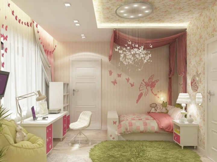 Зелено-розовая комната ребенка