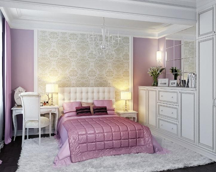 Розово-белая спальня