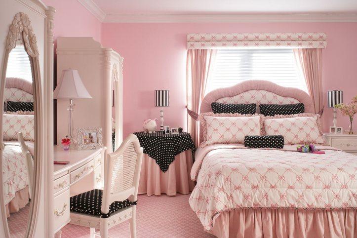 Розовый, белый, плюс черный в горошек