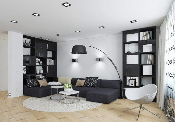 Белая гостиная с черной мебелью