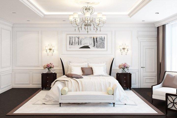 Роскошная спальня в белых тонах