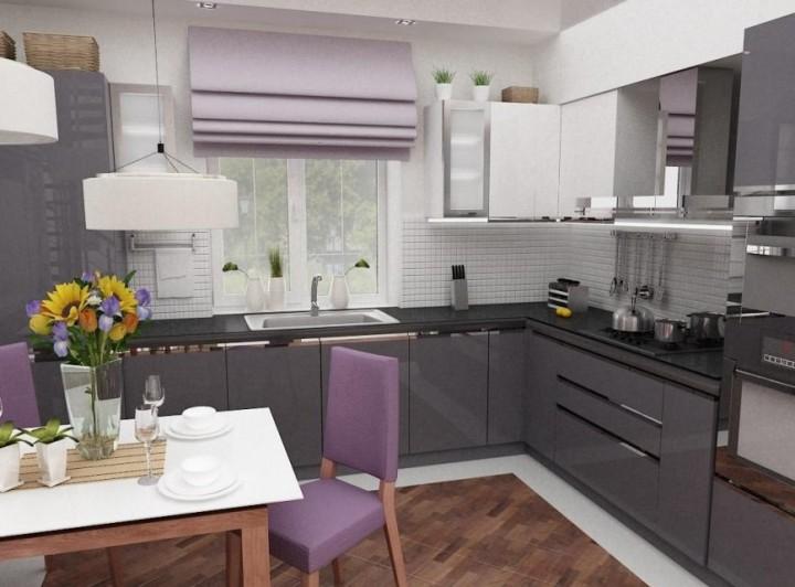 Фото интерьера кухни в серых тонах