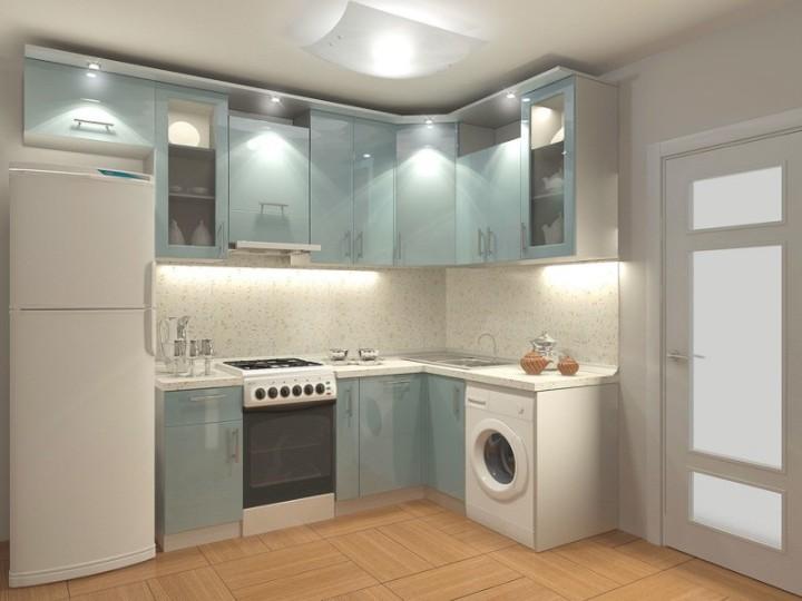 Маленькая кухня в серых и голубых тонах