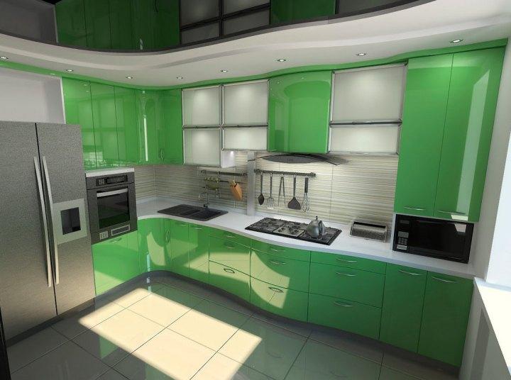 Современная серо-зеленая кухня