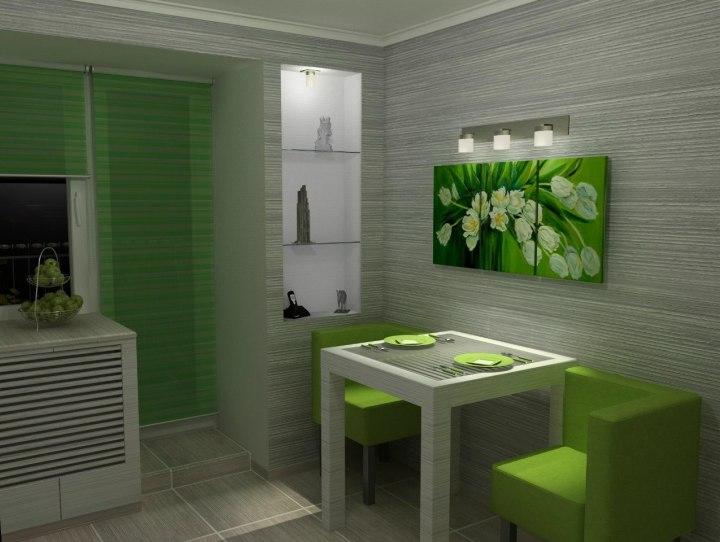 Кухня в серо-зеленых тонах