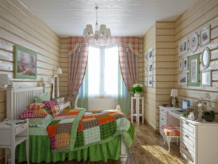 Текстиль в деревянной спальне