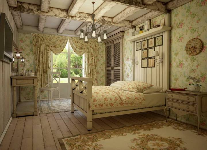 Деревянная спальня в стиле прованс