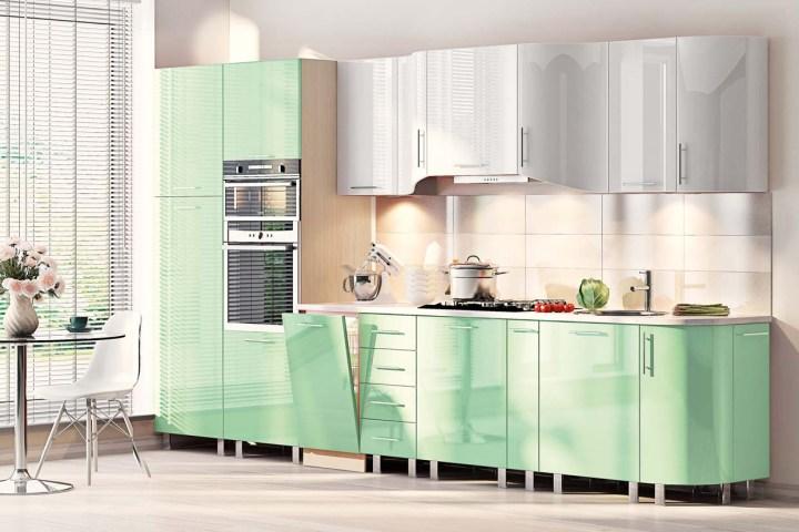 Зеленые обои для кухни дизайн