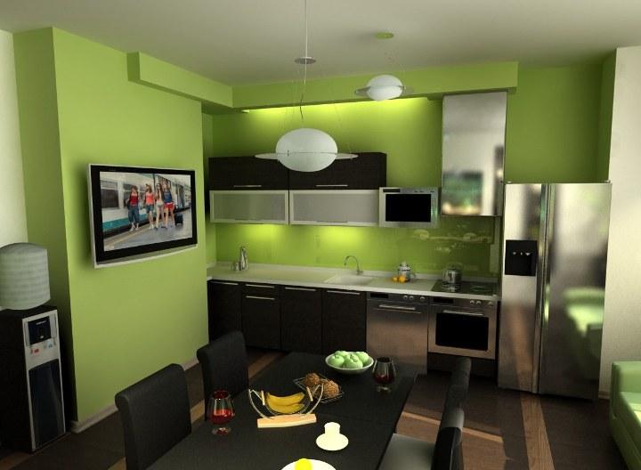 Дизайн кухни в желто зеленых тонах фото
