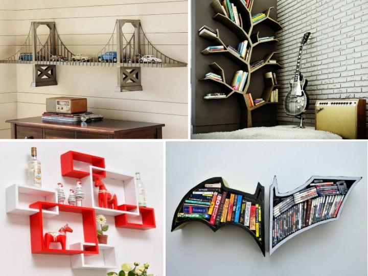 18 удивительных полок для книг и не только