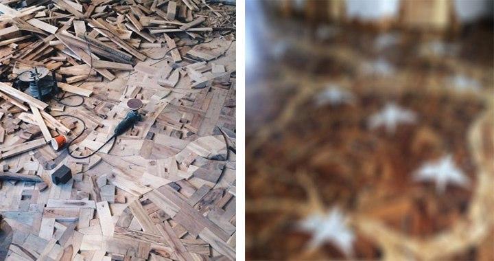 Необыкновенный пол из древесины, по-настоящему дизайнерская работа!