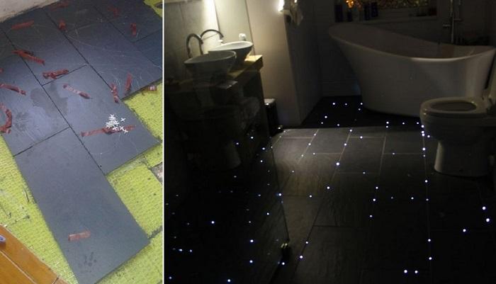 Предприимчивый парень превратил ванную комнату в мерцающую каюту космического корабля