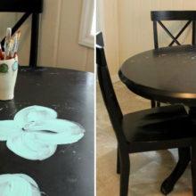 Художница освежила старый кухонный стол, превратив его в произведение искусства
