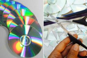 Эффектный декор скучной кухонной стены: красочная мозаика, собранная из старых компакт-дисков